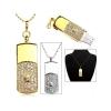 Флешка-подвеска прямоугольная с камнями gold 8 gb